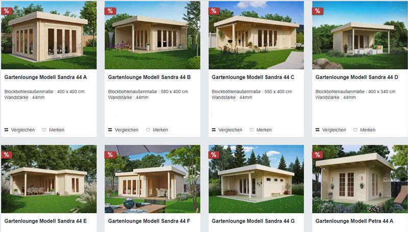 Screenshoot über Angebote von Flachdachgartenhäusern bei gartenhausfabrik.de